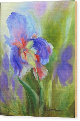 Wood Print featuring the painting Tennessee Iris by Carol Berning