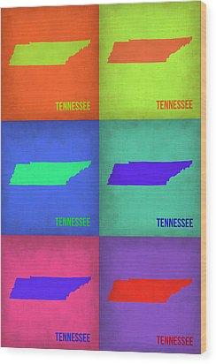 Tennessee Pop Art Map 1 Wood Print by Naxart Studio