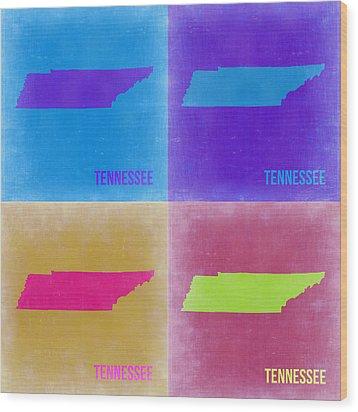 Tennessee Pop Art Map 2 Wood Print by Naxart Studio