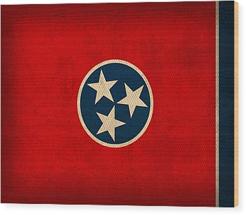 Tennessee State Flag Art On Worn Canvas Wood Print by Design Turnpike