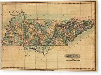 Tennessee Vintage Antique Map Wood Print by World Art Prints And Designs