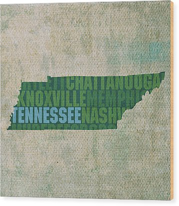 Tennessee Word Art State Map On Canvas Wood Print by Design Turnpike