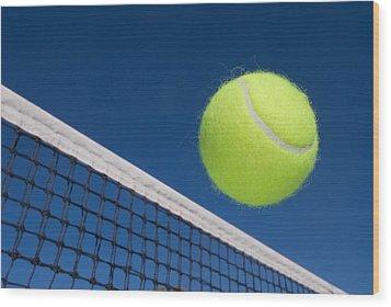 Tennis Ball And Net Wood Print