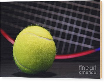 Tennis Ball And Racket Wood Print by Olivier Le Queinec