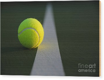 Tennis Ball At Last Light Wood Print