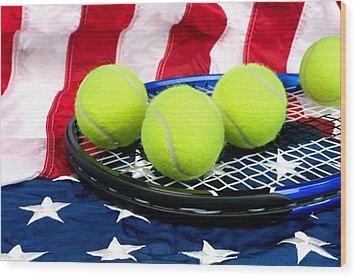 Tennis Equipment On American Flag Wood Print