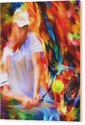 Tennis II Wood Print by Lourry Legarde