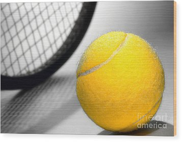 Tennis Wood Print by Olivier Le Queinec