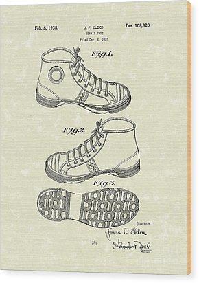 Tennis Shoe 1938 Patent Art Wood Print by Prior Art Design