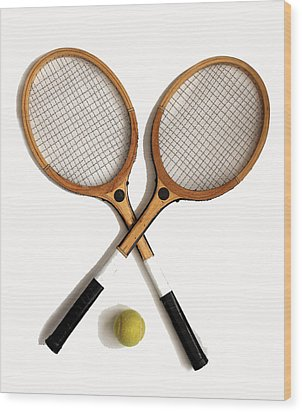 Tennis Sports Wood Print by Tom Conway