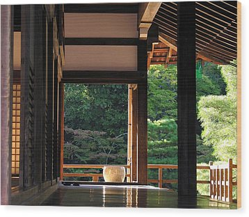Wood Print featuring the photograph Tenryui-ji - Temple - Kyoto by Jacqueline M Lewis