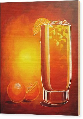 Wood Print featuring the painting Tequila Sunrise by Darren Robinson