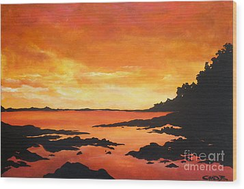 Wood Print featuring the painting Tequila Sunset by Chad Berglund