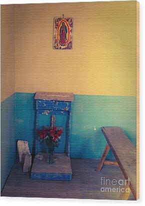 Terlingua Church Offering Wood Print by Sonja Quintero