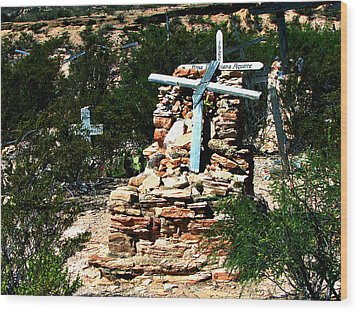 Wood Print featuring the photograph Terlingua Cross by Linda Cox