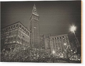 Terminal Tower At Night Wood Print