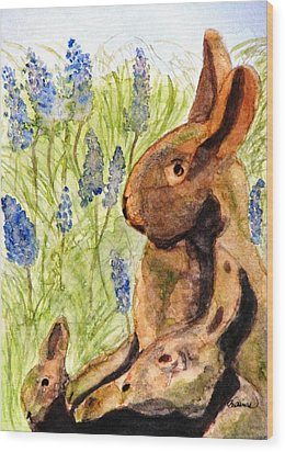 Wood Print featuring the painting Terra Cotta Bunny Family by Angela Davies