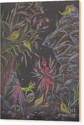 Terra Wood Print by Dawn Fairies