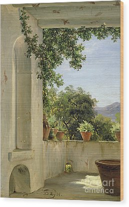 Terrace In Sorrento Wood Print by Thomas Fearnley