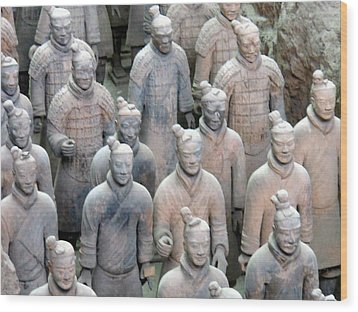Wood Print featuring the photograph Terracotta Warriors by Kay Gilley