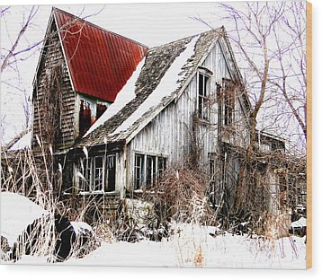 Terrance Laird Farm House Thedford Wood Print by Bruce Ritchie
