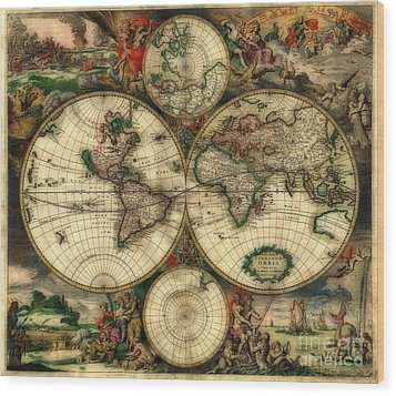 Terrarum Orbis Old World Map  Wood Print by Inspired Nature Photography Fine Art Photography