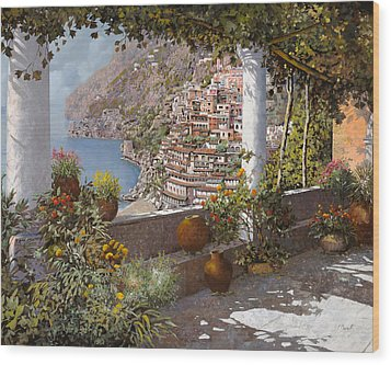 terrazza a Positano Wood Print by Guido Borelli