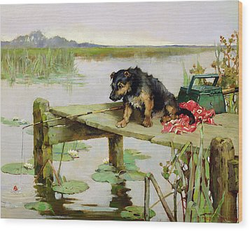Terrier - Fishing Wood Print by Philip Eustace Stretton