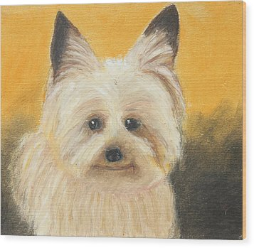Wood Print featuring the painting Terrier by Jeanne Fischer