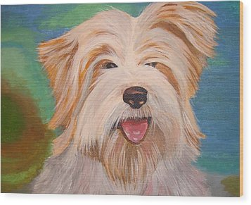 Terrier Portrait Wood Print by Tracey Harrington-Simpson
