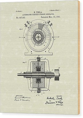 Tesla Generator 1891 Patent Art Wood Print by Prior Art Design