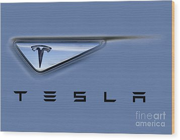 Tesla Model S Wood Print by David Millenheft