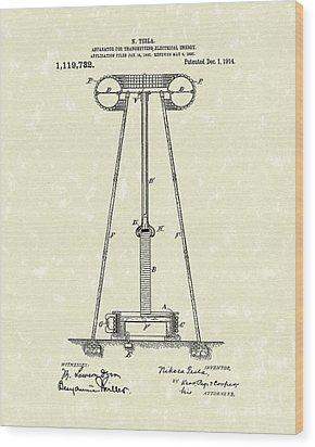Tesla Transmitter 1914 Patent Art Wood Print