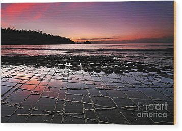 Tesselated Pavement Sunrise Wood Print by Bill  Robinson
