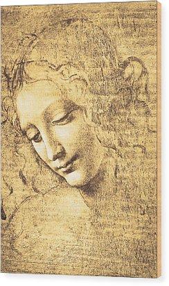 Testa Di Fanciulla Detta La Scapigliata Wood Print by Leonardo Da Vinci