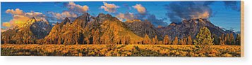 Teton Mountain View Panorama Wood Print by Greg Norrell