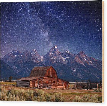 Teton Nights Wood Print