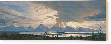 Teton Range From Signal Mountain Wood Print by Paul Krapf
