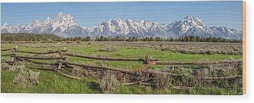 Teton Range Panorama Wood Print by Aaron Spong