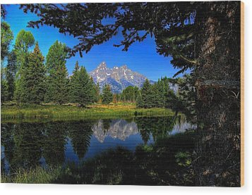 Wood Print featuring the photograph Teton Reflection by Yeates Photography