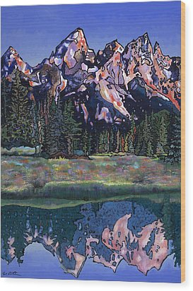 Wood Print featuring the painting Teton Summer by Bob Coonts