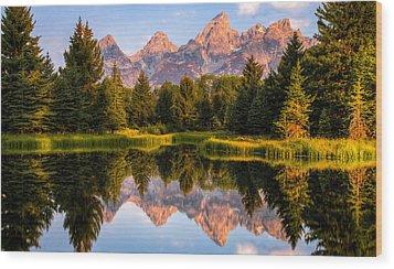Teton Sunrise Wood Print by Chris Austin