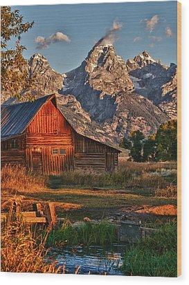 Teton Sunrise Wood Print by Rob Wilson