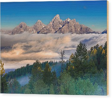 Tetons Above The Clouds Wood Print by Jerry Patterson