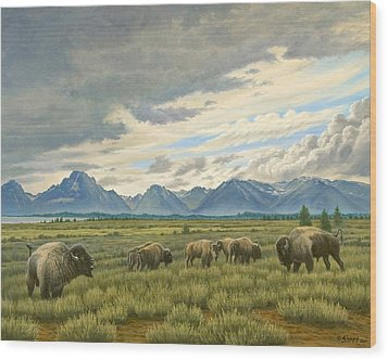 Tetons-buffalo  Wood Print