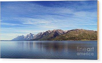 Tetons By The Lake Wood Print by Ausra Huntington nee Paulauskaite