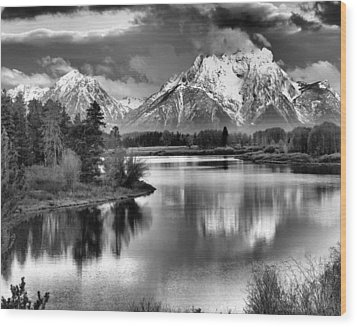 Tetons In Black And White Wood Print by Dan Sproul