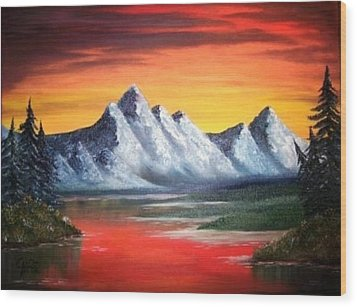 Wood Print featuring the painting Tetons Sunset by The GYPSY And DEBBIE