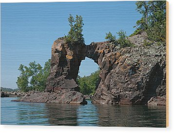 Tettegouche Arch By Kayak Wood Print by Sandra Updyke