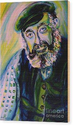 Tevye Fiddler On The Roof Wood Print by Carole Spandau